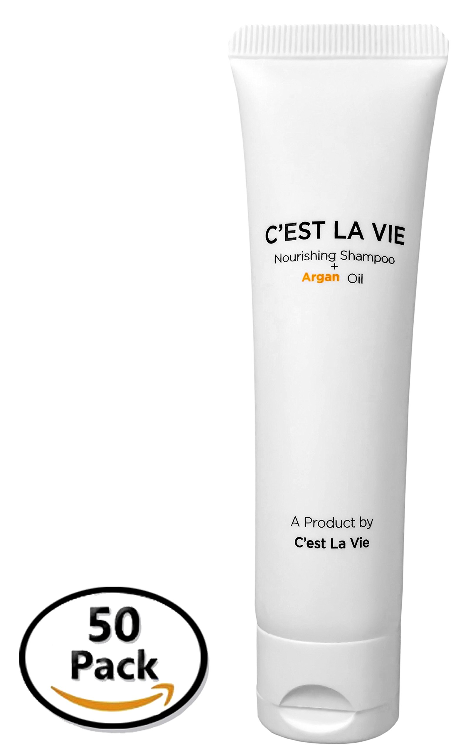 50 Bulk Pack - Nourishing Shampoo + Argan Oil By C'EST LA VIE - 40ml / 1.35 fl oz - Travel Guest & Hotel Amenities - Individual Tubes in Eco Responsible Packaging. Paraben & Cruelty Free (white) by CEST LA VIE