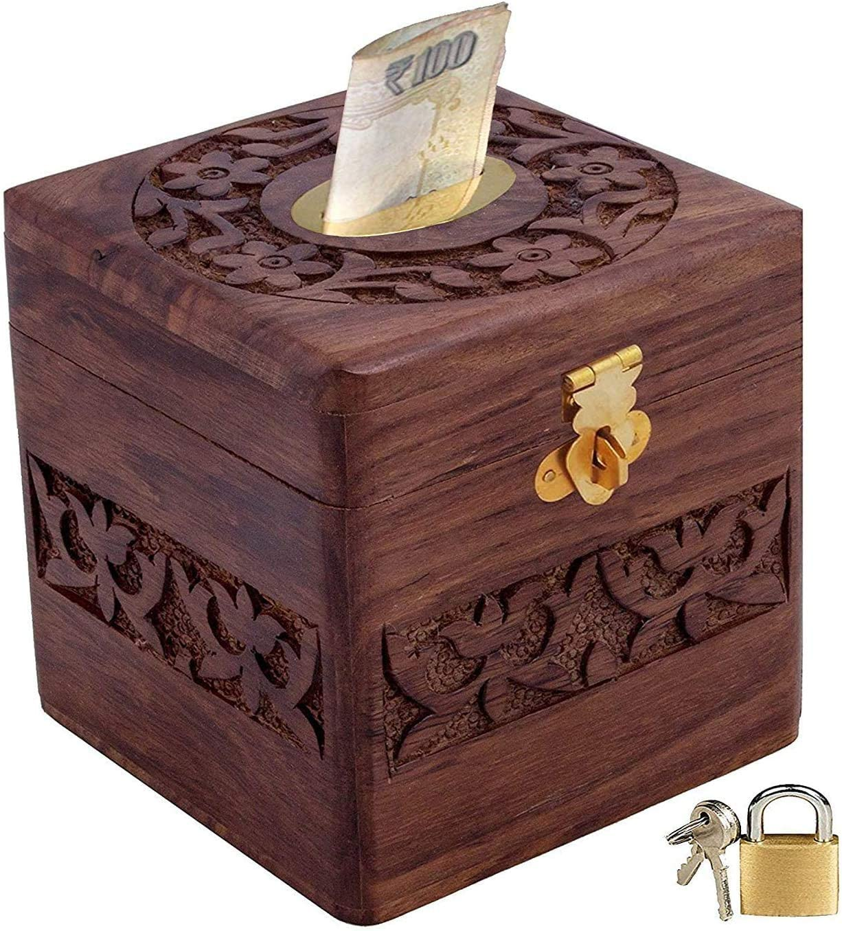 Carving Piggy Bank Safe Money Bank for All Ages Gift for Kids Carving Money Bank Money Storage Box Wooden Carving Money Bank Square Shape Coin Box