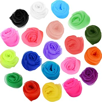 20Pcs 60 x 60 cm Kids 20 Colors HENGSONG Pack of 20 Belly Dance Juggling Scarves Sensory Toy for Baby//Toddler