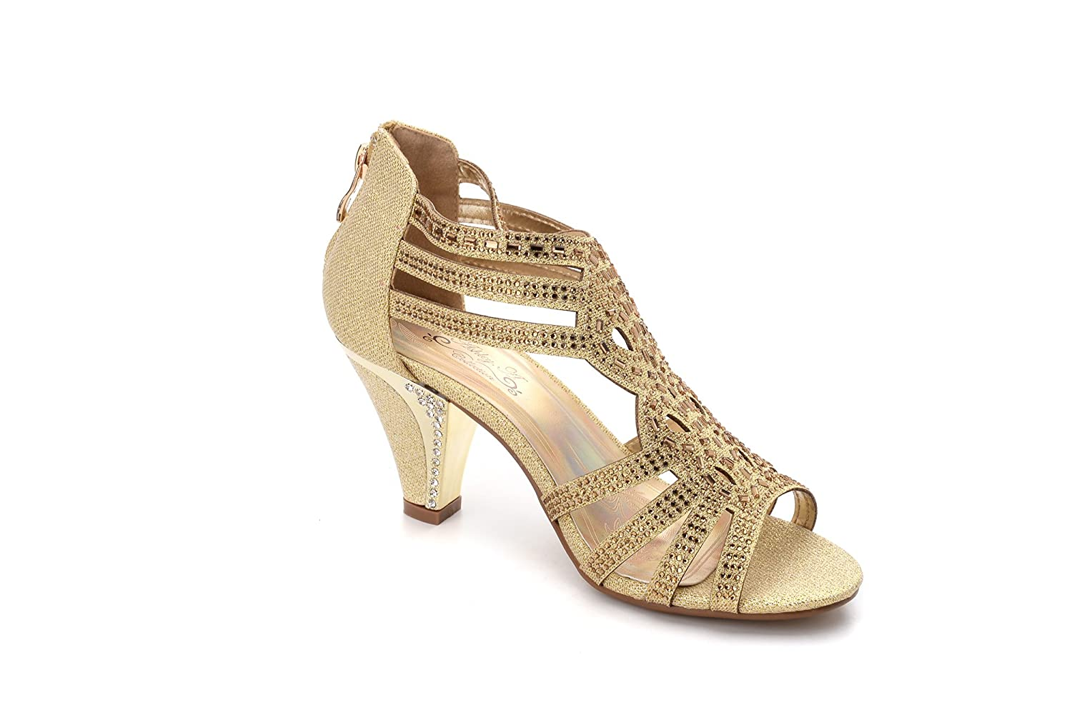 322fc5e66512b Ashley A Collection Women's Lexie Crystal Dress Heels Low Heels Wedding  Shoes KIMI25 Gold 5