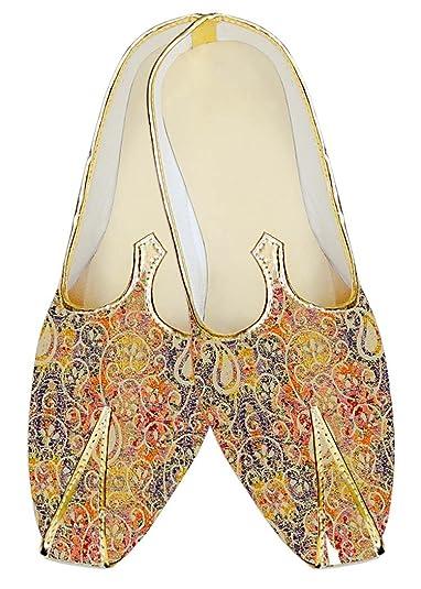 Mens Orange Jute Silk Wedding Shoes Floral Designs MJ18319