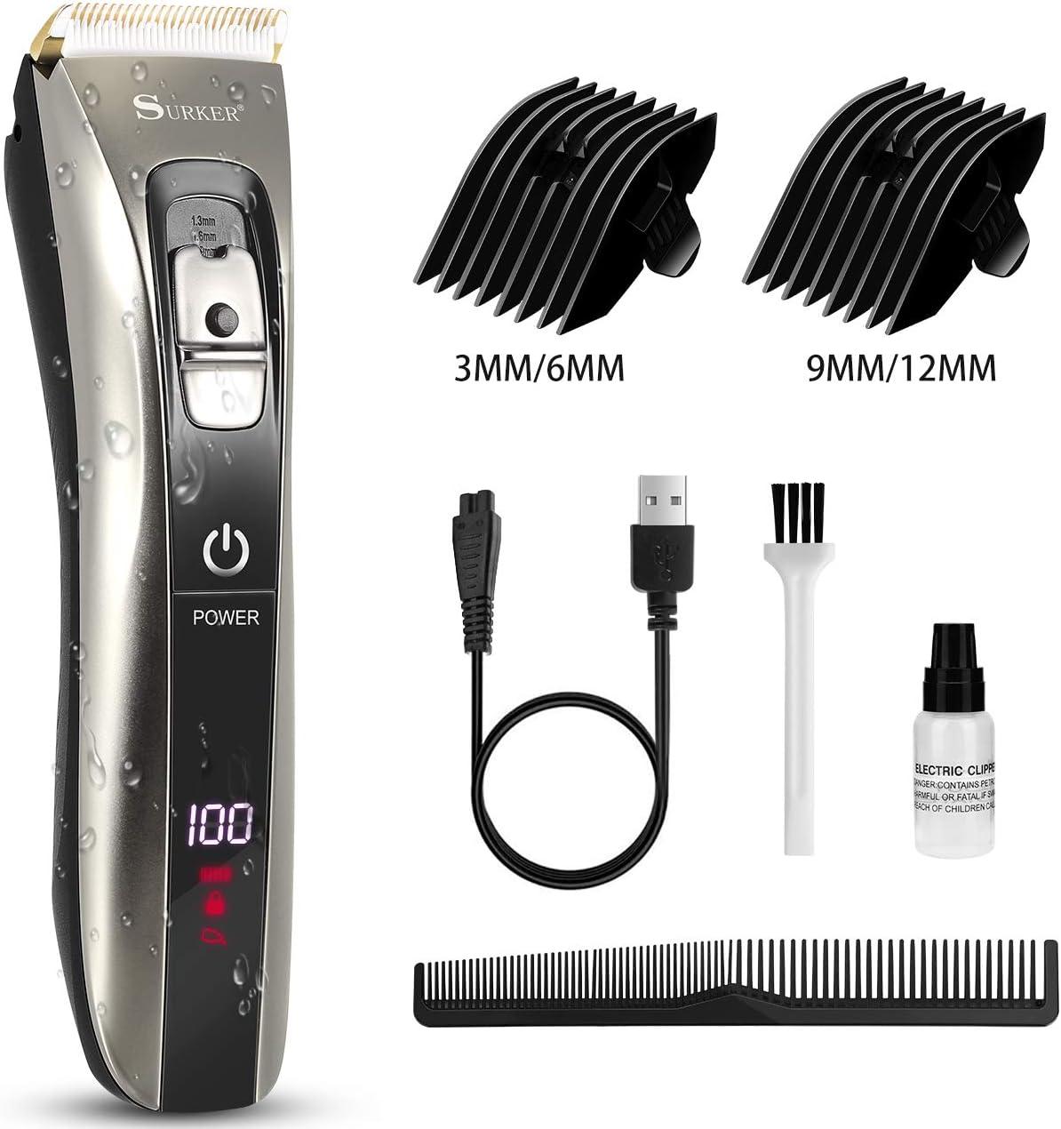 Cortapelos, recortador de cabello inalámbrico Nivlan a prueba de agua para hombres, kit de corte de cabello profesional con peine guía de doble extremo, USB recargable y pantalla LED