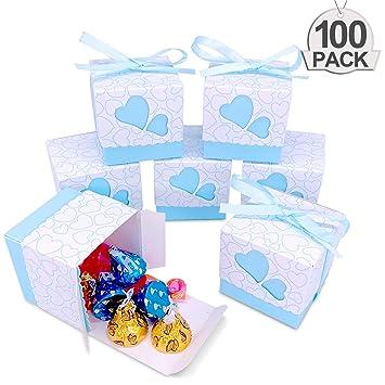 QGWZ 100x Cajas de Bautizo Caramelo Cumpleaños Dulces Bombones Regalos con Cintas para Invitados de Boda Fiesta Comunion, Bautizo Cumpleaños(Azul): ...