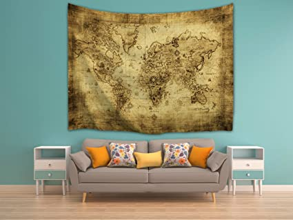 Amazon.com: IMEI Antique World Map Wall Tapestry Hanging, Polyester ...