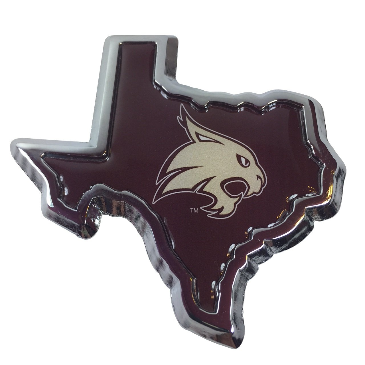 Texas State University Bobcats METAL Auto Emblem State Shaped - Texas metal car show
