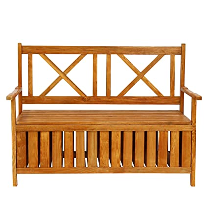 Delicieux Care 4 Home LLC Outdoor Storage Wood Bench Armrest, Large Interior Space,  Durable Practical