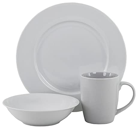Amazon.com | Oneida American Loft 12 PC White Porcelain Dinnerware ...