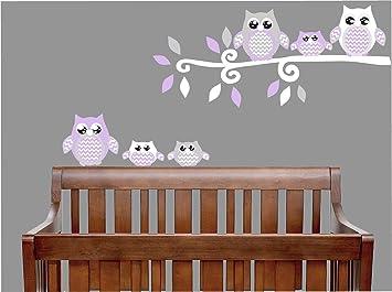Amazon.com: Purple Owl Wall Decals / Owl Stickers / Owl Nursery ...