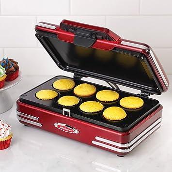 Nostalgia Electrics RCKM700 - Máquina para Hacer Magdalenas y Cupcakes,750W,Color Rojo Metálico: Amazon.es: Hogar