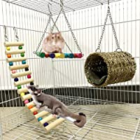 Leeko Hamster Chew Toy, 3 Pieces Wooden Hammock, Swing Climbing Ladder and House Nest, Small Animal Hanging Toys for…