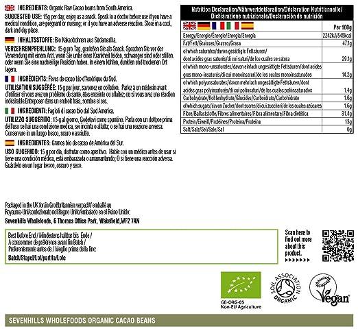 Sevenhills Wholefoods Granos De Cacao Crudos Orgánico 1kg: Amazon ...