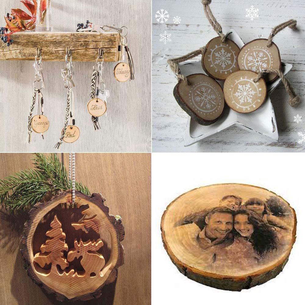Etsamor Holzscheiben Mit Loch 30 Pcs 5 7 Cm Baumscheiben Zum
