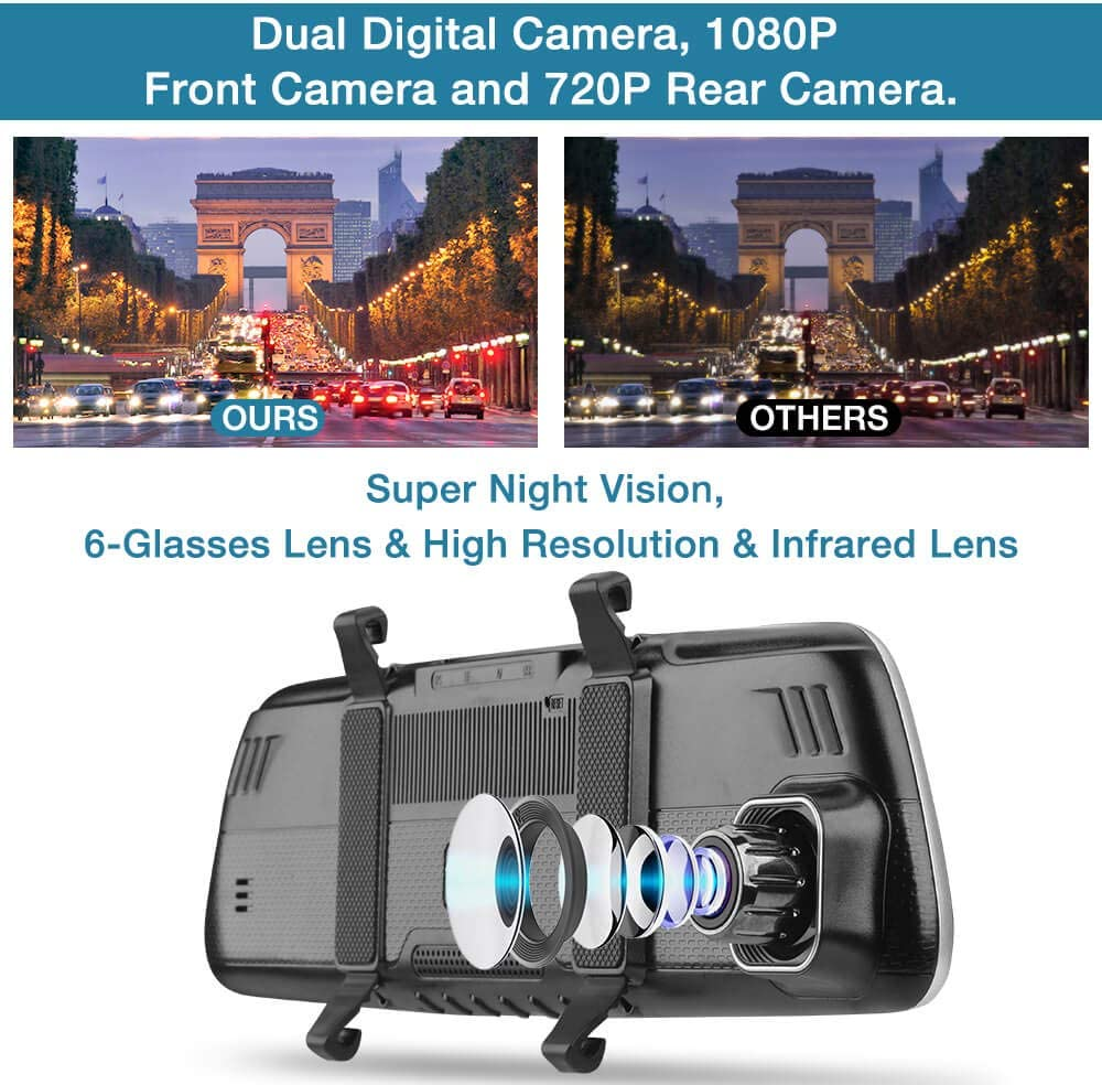 Parking Mode Night Vision Dash Camera for Cars Front and Rear SSONTONG Dash Cam Dual Camera with SD Card FHD 1080P Driving Recorder 3 Inch IPS Screen 170/°Wide Angle HDR Motion Detection