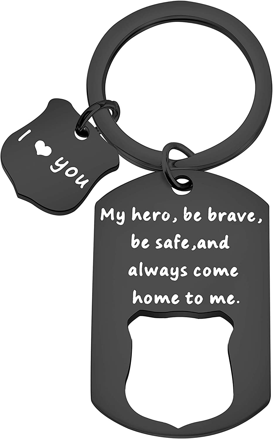 Your Own Words.Custom Jwelry Police Officer Wife Set Keychain Hand Stamped Dog Tag Police Badge Always Come Home To Me My Hero Keychain