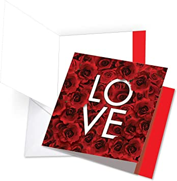 Amazon Com The Best Card Company Blooming Love Red Roses