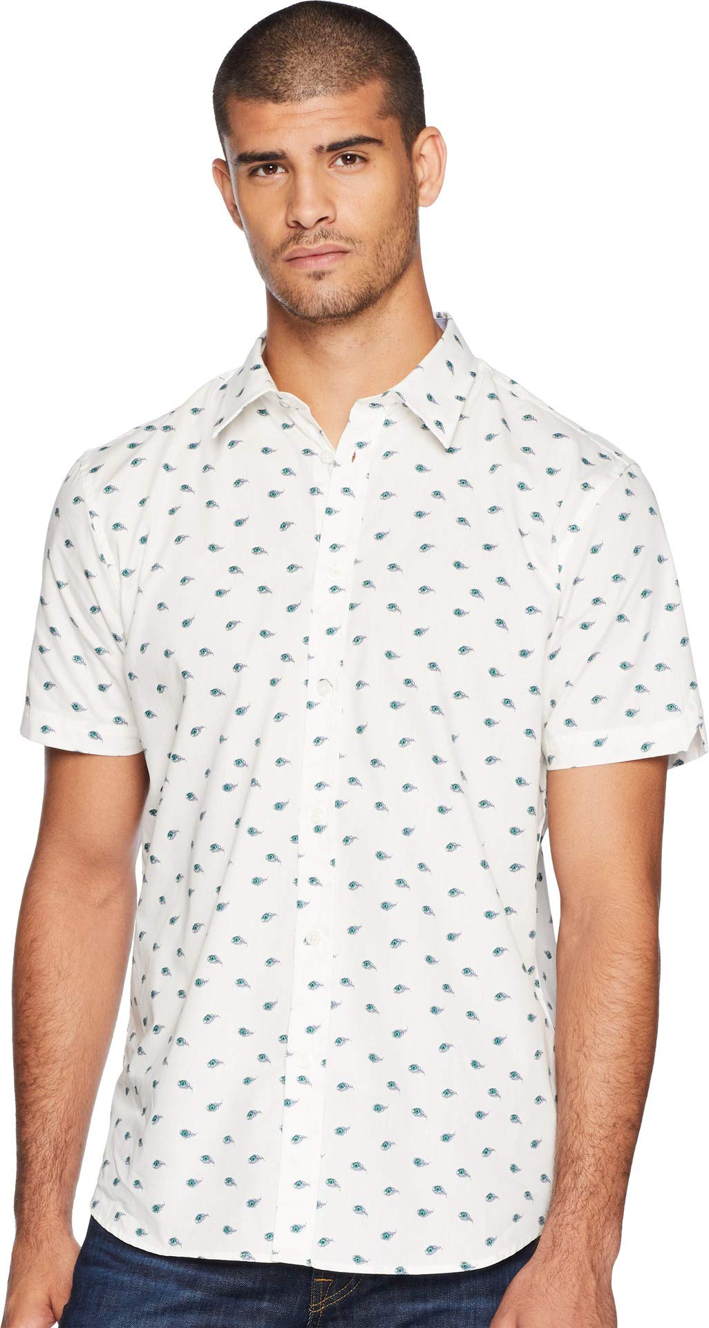 Ben Sherman Men's Short Sleeve Peacock Feather Print Shirt, White, Large