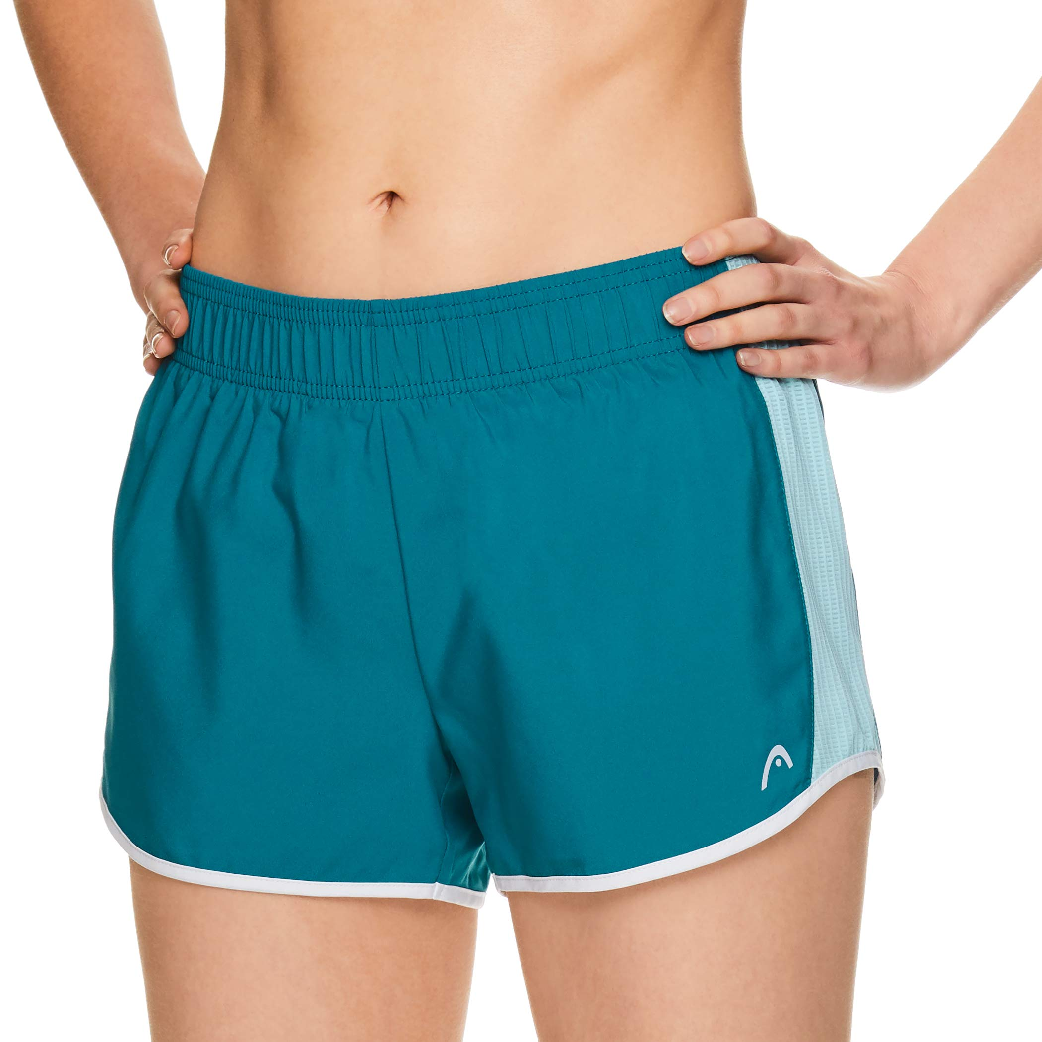 HEAD Women's Athletic Workout Shorts - Polyester Gym Training & Running Short - Ally Crystal Teal, X-Small