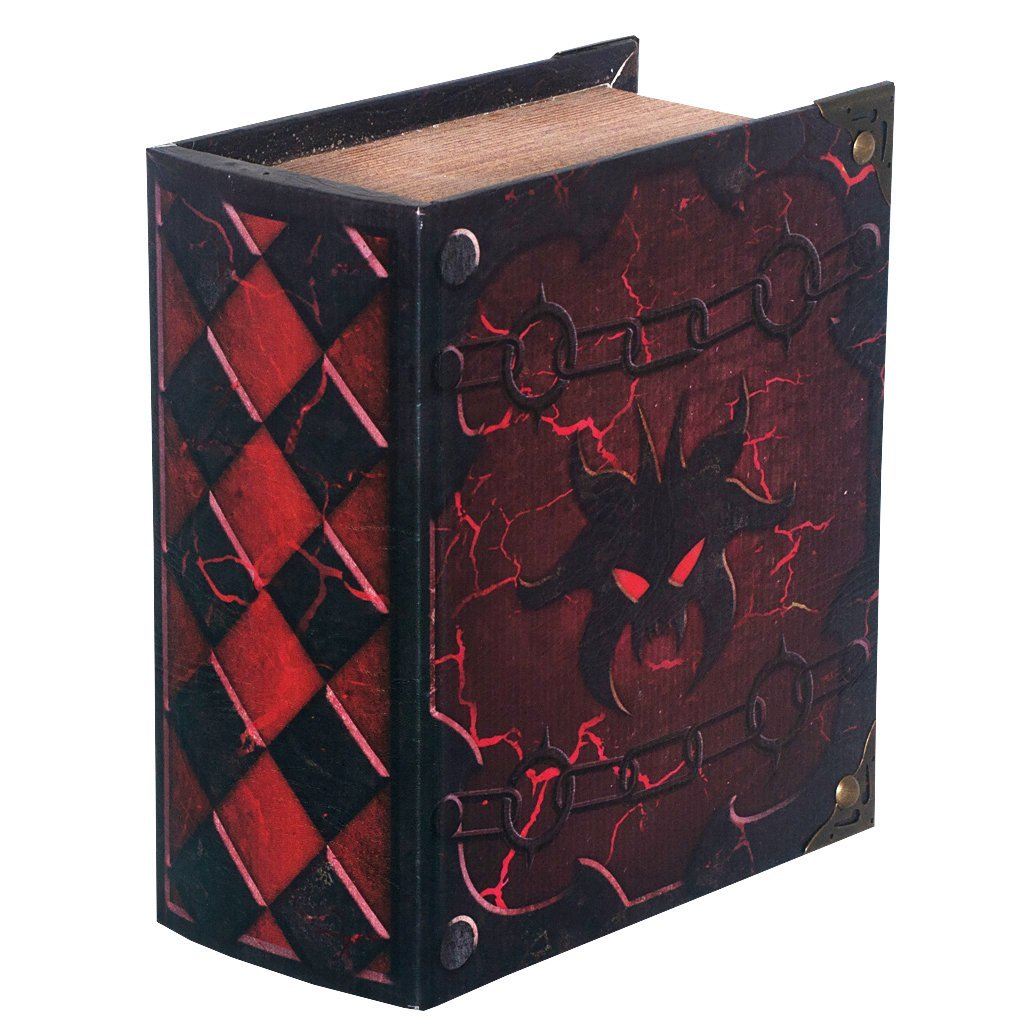 Grimoire Pro Tour, Hellbent | Wooden Spellbook Style Fabric Lined Portable Deck Box for MTG, Yugioh, and Other TCG | 350+ Card Capacity Wizardry Foundry