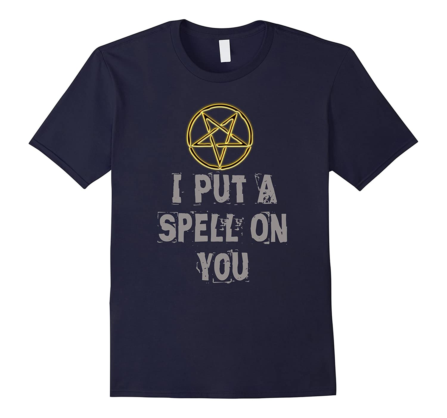 Distressed I Put A Spell On You Halloween Pentagram T-shirt-FL