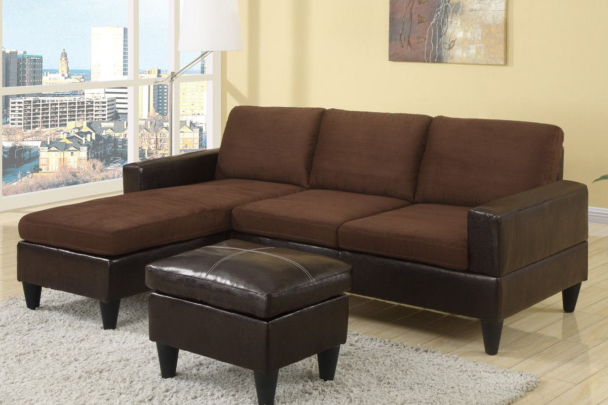Amazon.com Poundex Compact Reversible Sectional with Ottoman (Chocolate u0026 Faux Leather) Kitchen u0026 Dining : brown leather sectional sofa - Sectionals, Sofas & Couches