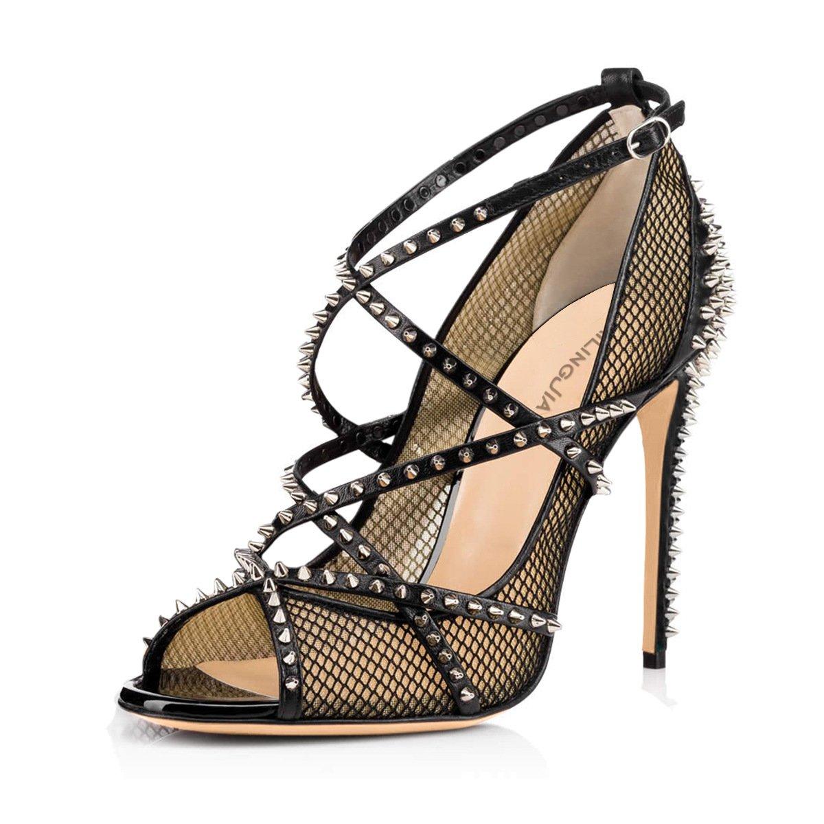 CAI Frauen High Heel Heel High Kunstleder 2018 Sommer Neue Sexy Schwarz/Gold Fischnetz High Heel Rivet Sandalen Damen Nude Fisch Mund Schuhe (Farbe : Schwarz, Größe : 36) - 3777d6