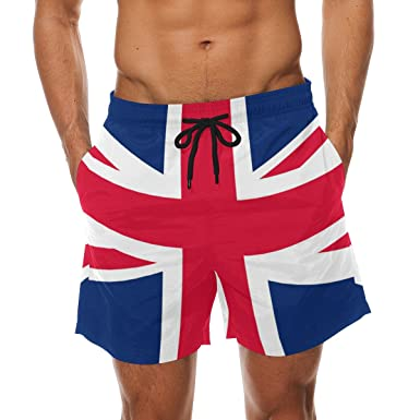d1838db56d Bennigiry Union Jack British Flag Summer Beach Shorts Pants Men's Swim  Trunks Board Short for Men