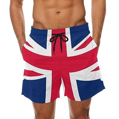 453c537e2c62d Bennigiry Union Jack British Flag Summer Beach Shorts Pants Men's Swim  Trunks Board Short for Men