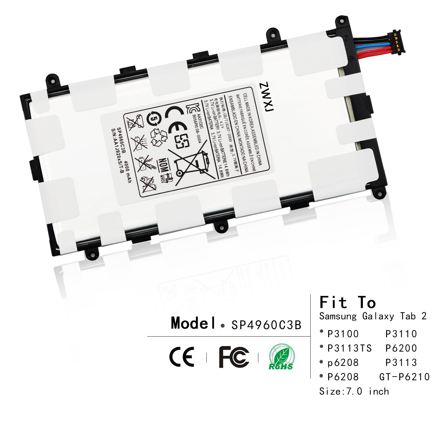ZWXJ Replacement Tablet SP4960C3B battery(3.7V 4000MAH)For Samsung Galaxy Tab 2 7.0 P3100 P3110 P3113TS P6200 p6208 P3113 P6208 P3100 Plus GT-P6210 Sgh-t869 Aa1c426bs/t-b SP4960C3B