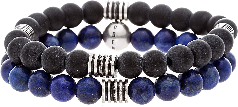 Steve Madden Stainless Steel Black and Blue Beaded Stretch Duo Bracelet Set for Men