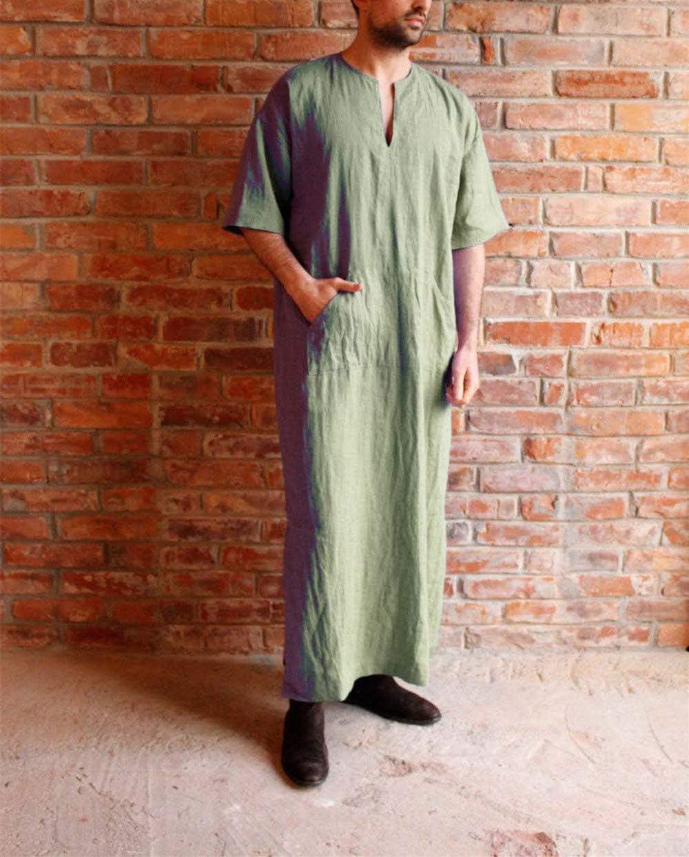 Hoverwin Herren Casual Ethnisch Robe Lose Baumwolle Leinen Kurzarm D/ünn Jahrgang Kleid Kaftan V-Ausschnitt Lang T-Shirt Mit Taschen 3XL, Gr/ün