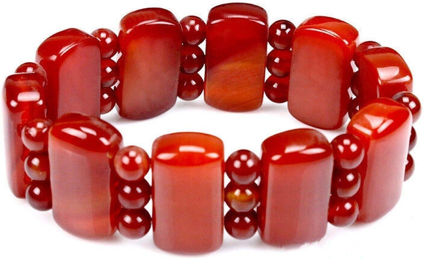 Pulsera de ágata roja, hilera de manos de jade y calcedonia, pulseras de hilo de jade masculino y femenino