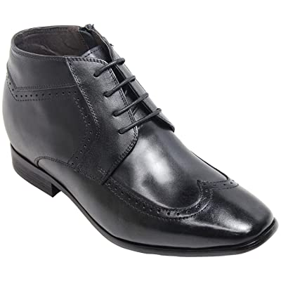 Calden Men's Invisible Height Increasing Elevator Shoes - Black Leather Wing-tip Zipper Lightweight Dress Boots - 2.6 Inches Taller - K393371 | Boots