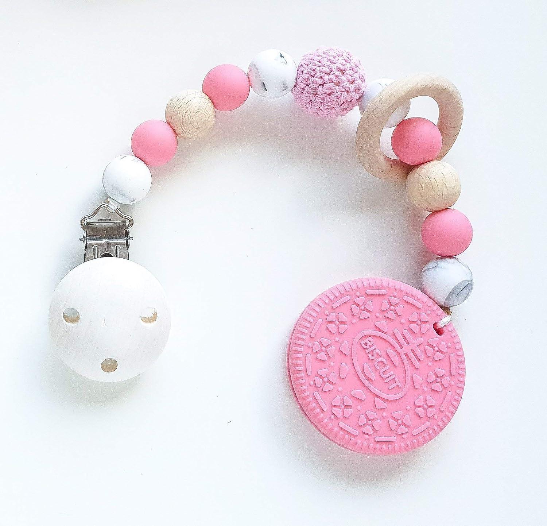 Beiß kette 'Cookie in Pink und Mamor' Zahnungshilfe fü r Babys