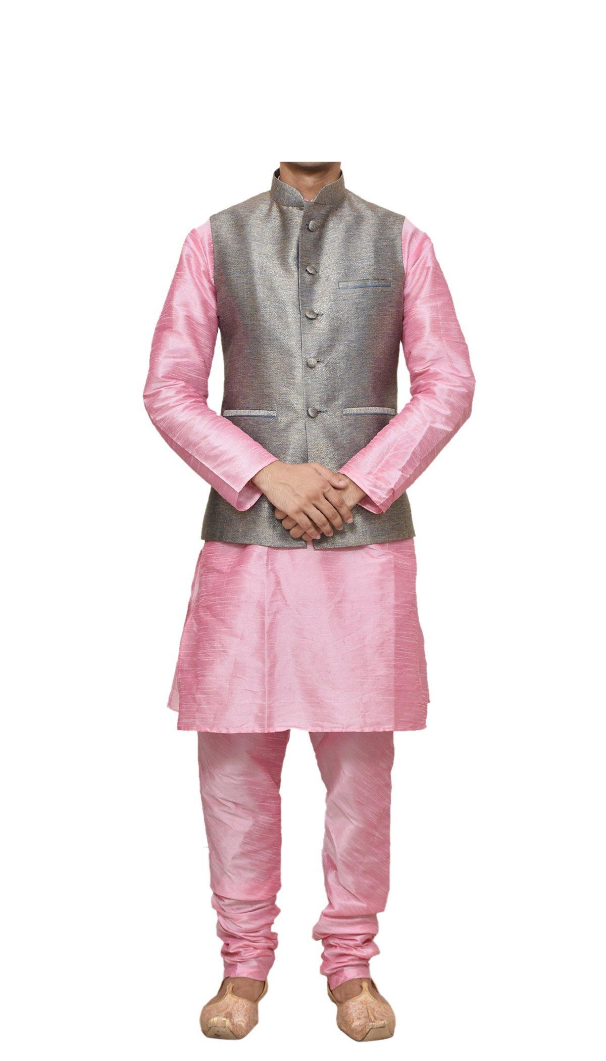 Mag Men's Pink Matching silk Kurta Churidhar With Copper Gold Waistcoat (RG-10232B-46)