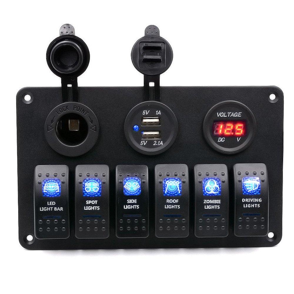 Samoleus 6 Gang LED Schalter Auto Wippenschalter: Amazon.de ...