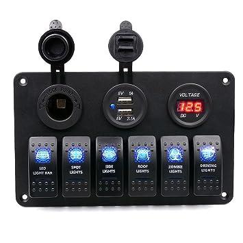TurnRaise 6 Gang DC 12V / 24V LED Rocker Switch Panel-Schutzschalter ...
