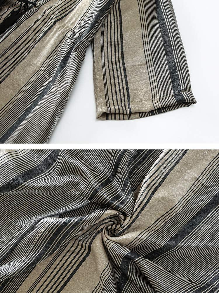 BINGQZ Robe Printemps et en été des Dames Occasionnels Simples Robe de Chemise de tempérament Minceur de Rayures de Soie Brillantes S