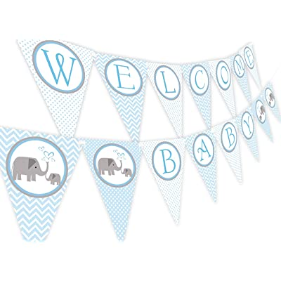 Little Elephant Blue Baby Shower Banner Pennant: Toys & Games