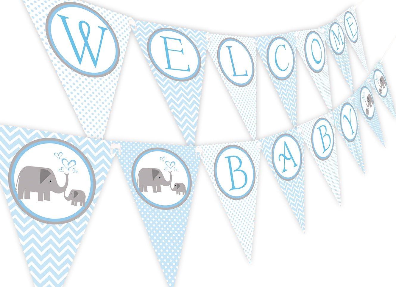 Little Elephant Blue Baby Shower Banner Pennant