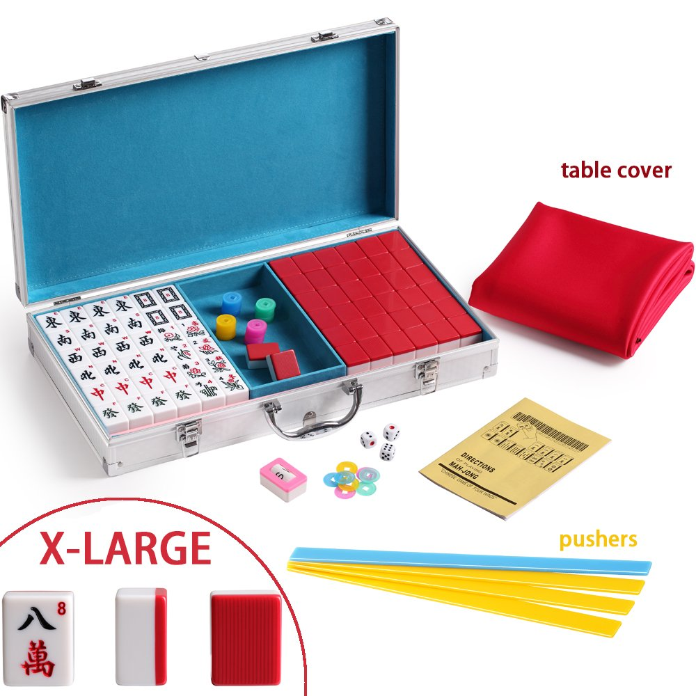 X-Large Numbered Tiles Mahjong Game Set. 144 Lucky Dog Pattern Aluminum case Complete set with pusher & table cover Gift / Birthday green/red/blue(Mah-Jongg, Mah Jongg, Majiang高品质麻将) (red) by We pay your sales tax (Image #1)