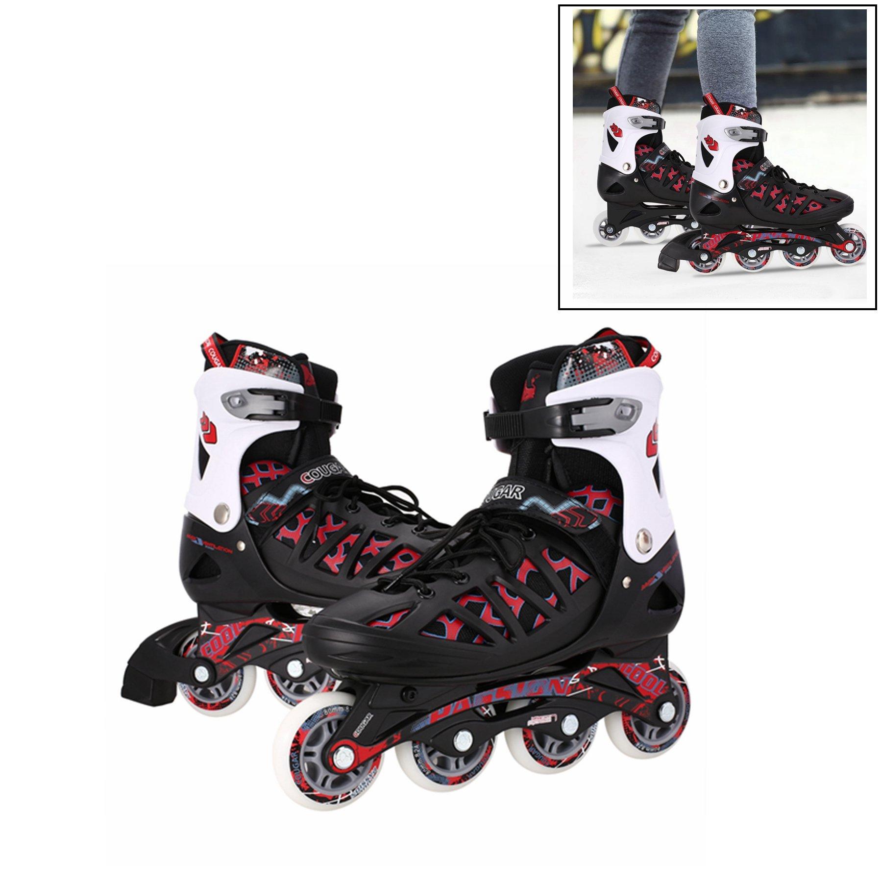 Leoneva Adult Adjustable Inline Skates for Men/Women/Teen, Outdoor Roller Skates for Training (US Stock, Blue/Black/Silver) (Black, US Size 4-7) by Leoneva