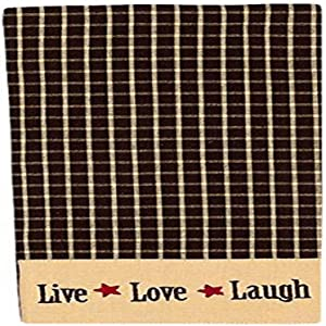 "Home Collection by Raghu Live-Love-Laugh Check and Nutmeg Towel, 18 x 28"", Black Set of 2"