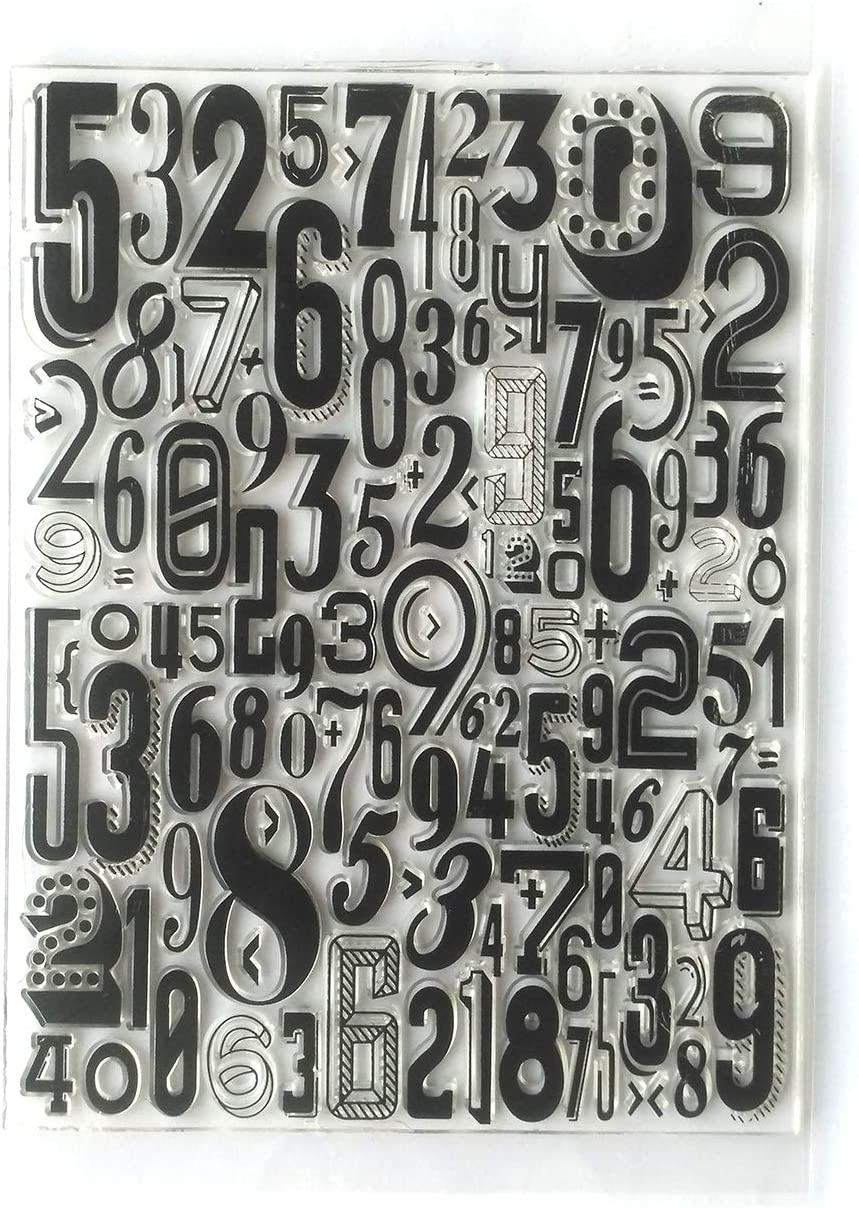 MaGuo Number Background Clear Stamps for Paper Craft Card Making Decoration and DIY Scrapbooking