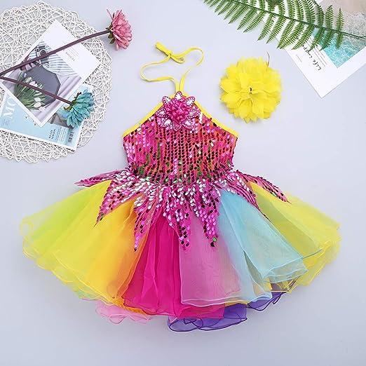 2084b97f252 YiZYiF Enfant Fille Robe de Danse Justaucorps Ballet Latine Patinage  Pom-Pom Robe à Paillette Robe Soirée et Bracelet Costume Danse Performance  Carnaval ...