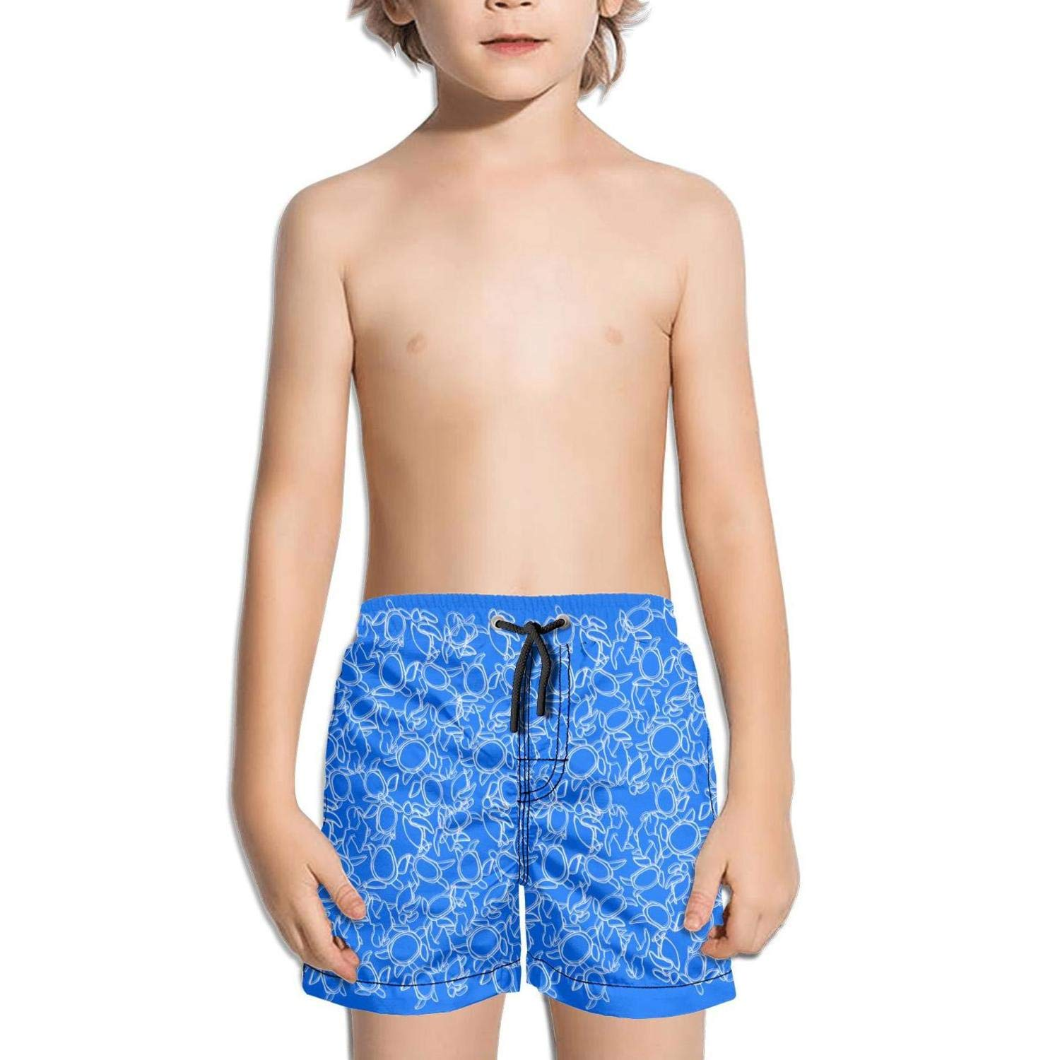 Shorts Swim for Kid Quick Dry Solid Board Printed Swimming Tucks Drawstring Brief Abstract Blue Turtles