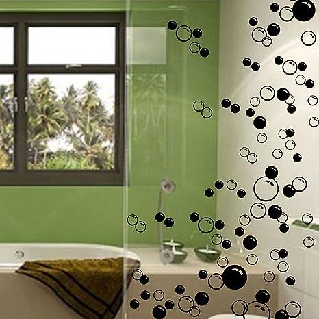 Wand Sticker Fur Badezimmer Wande Fenster 44 Luftblasen Schwarz Amazon De Kuche Haushalt