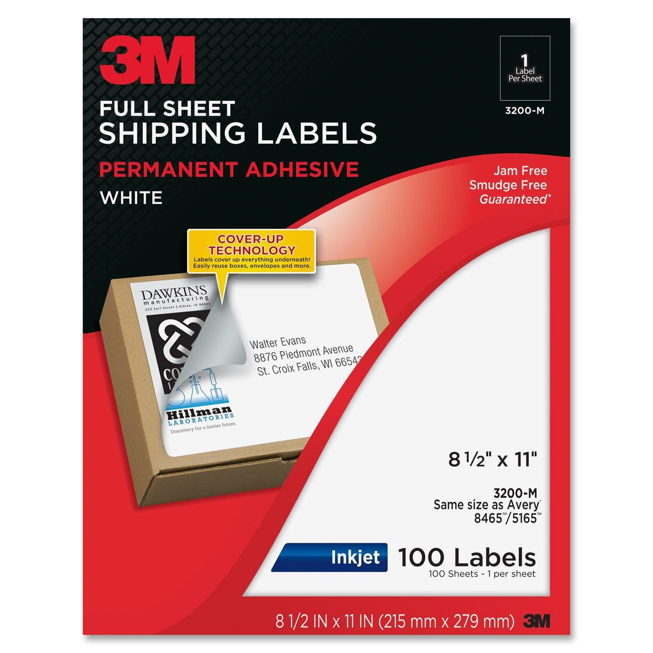 3M Full Sheet Shipping Labels with Cover-Up Technology, 8-1/2 x 11 Inches, White, 100 Sheets/Pack (3200-M)