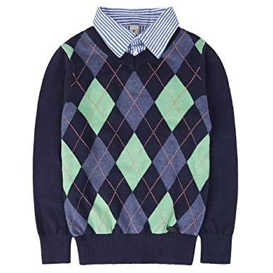 8bd43351fa2e5 Benito   Benita Boys Sweaters V-Neck Faux Layered Uniform Sweater Long  Sleeve Pullover with
