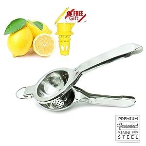 The BIGGEST Professional Super Jumbo Stainless Steel Lemon Squeezer (EcoJeannie LS0002), Never Break Never Rust Lemon Juicer, Citrus Juicer/Commercial Grade Citrus Press (With Free Citrus Tap)