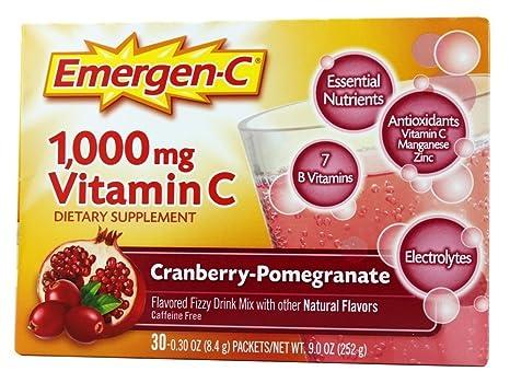 Alacer - amplificador de energía de Emergen-C vitamina C arándano Granada 1000 mg.